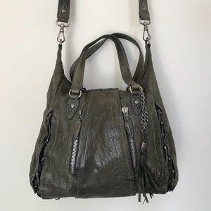 Olivia Harris Corset Pebbled Leather Hobo Bag